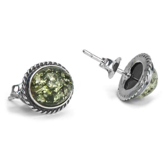 Femmes en argent sterling vert Ambre ovale Boucles doreilles V2S2J