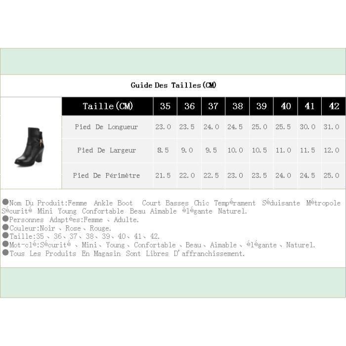 Femme Ankle Boot Court Basses Chic Tempérament Séduisante Métropole Sécurité Mini Young Confortable Beau Aimable élégante Naturel