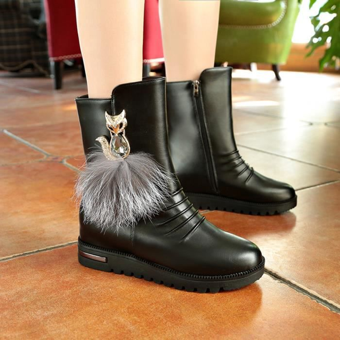 Sidneyki®Mode Femmes Botte Mince Bottes Chaussures Femmes Élégantes Bottes Confortables ChaussuresNoir WE492 tJS7gDv0