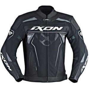 IXON Blouson Moto Cuir Frantic Noir et Blanc
