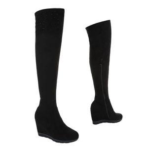 HIJIDA - Bottes compensée semelle façon crêpe Chaussures femmes boots fermeture zip Marque Angelina cuir velours beige DWJET