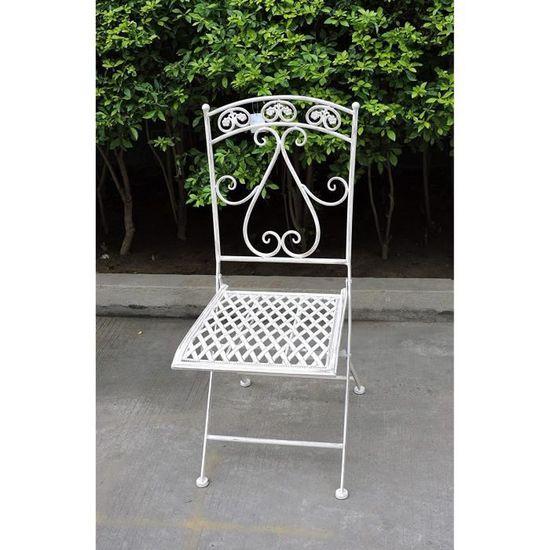 Euronovità EN-222289 Chaise carrée en fer forgé avec dossier ...