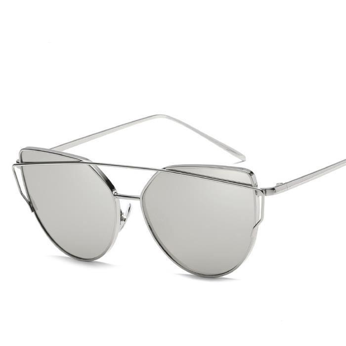 sunglasses Rétro avec Fashion Cadre soleil Grande Lunettes Argent Cadre  femme Blanc de Métal qYnvpw aa91b63112d7