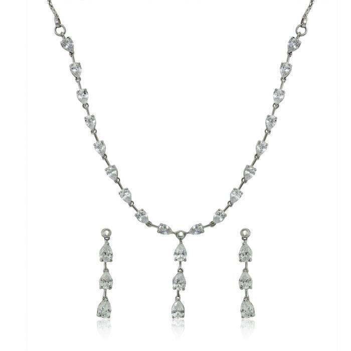 Blanc Femmes Cz classique Goutte rhodié Collier Set Pour Nl1103684r O07LC