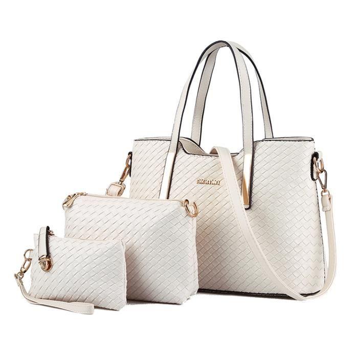 Mode Pu Sac à main en cuir + sac à bandoulière + sac à main de sac fourre-tout Weave JU72B