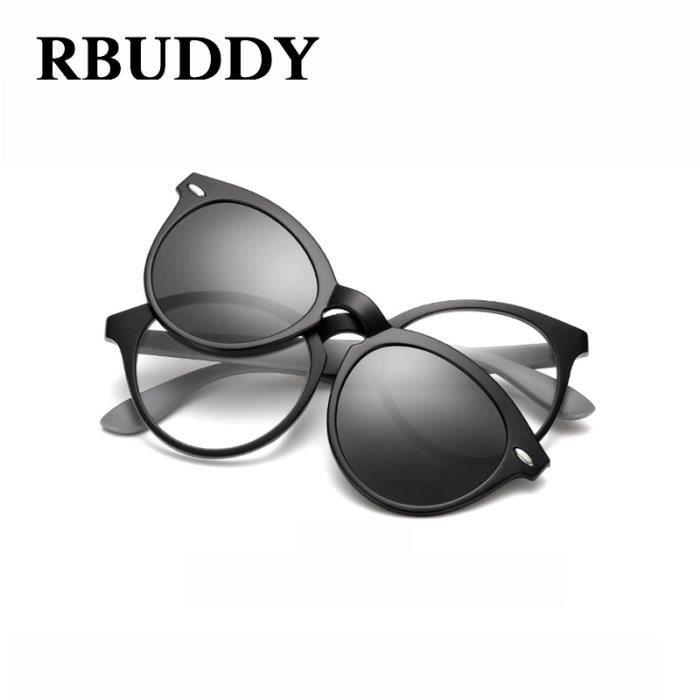 RBUDDY aimant lunettes de soleil hommes Clip polarisants Clear Round Marque Driving Transparent Designer Optique Femmes Lunettes de