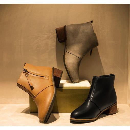 Martin Bottines Femmes Confortable Classique En Cuir Peluche Boots BBZH-XZ031Gris41-jr o2096Z6s