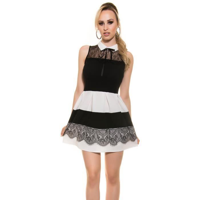 78905411d03 Robe courte chic élégante noire beige soirée femme - Achat   Vente ...