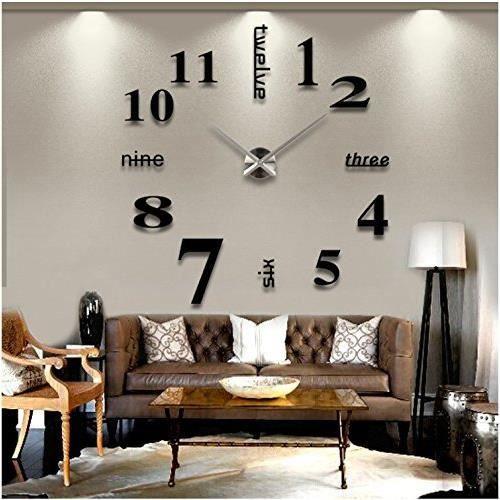 3d Diy Pendule Murale Moderne Metallique Horloge De Salon Decoration Noir