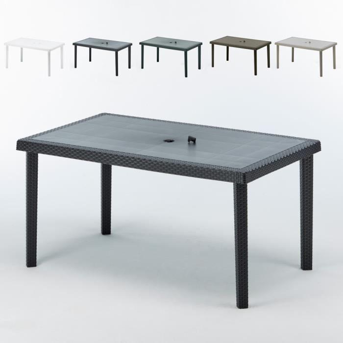 12 Table jardin rectangulaire en poly rattan bar cafè bistrot 150x90 -  couleur:Vert foncé