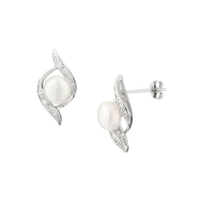 Mes-Bijoux.fr - Boucles doreilles Femme en Perles de culture Blanche et Argent 925-1000 - 8E2728Wgv