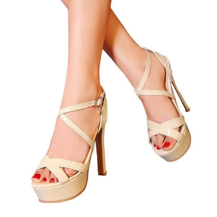 Sandales escarpins femmes bride talons haute plateforme Epais Sexy Soirée clubs