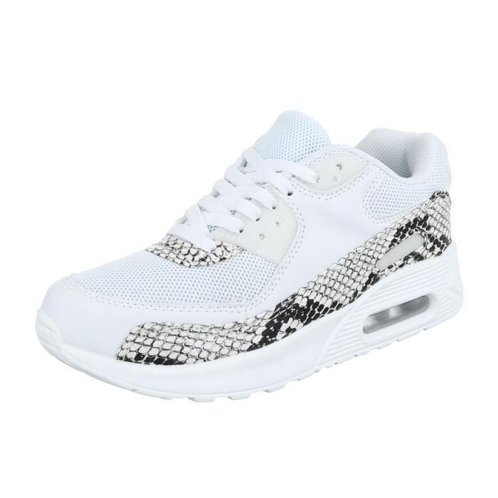 femme chaussures décontractées chaussure coureur chaussure de sportLow-top Baskets lacer ses blanc