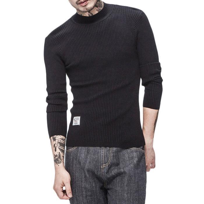 ba21081f096 Pull en maille basique couleur pure à manches longues coupe slim à col  cheminée sweat-shirt automne et printemps homme