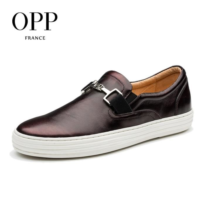 OPP Homme Comfortable véritable cuir Loafers Moccasin Falt de chaussures OD171106rouge vin45 n1c5oXHGi
