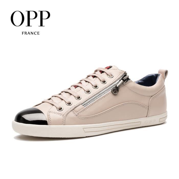 Chaussure Chaussures homme glissière crème crème 2017 OC173187 Cuir EU taille 43 Basket r4ISwr