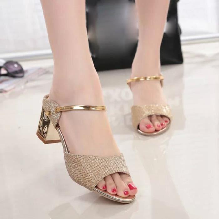 Été Rough Sandales Femmes Open Toe Poisson Bouche Talon Haut Confortable Chaussures Or