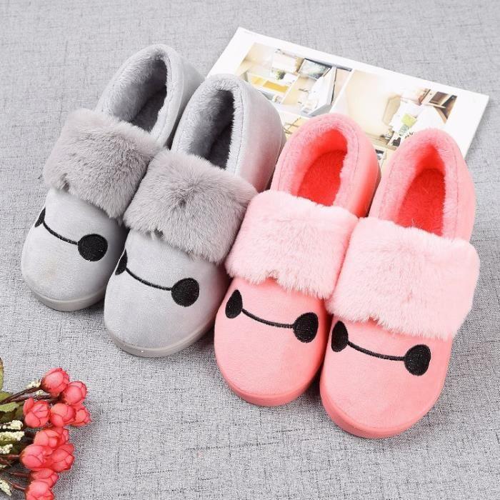 Automne et mode d'hiver visage souriant mignon chaussures en coton chaud non - slip pantoufles en coton chaussures maison P27sUi2L