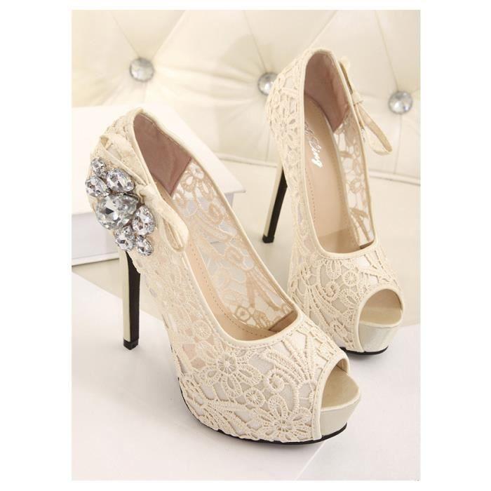 Version coréenne Bouche de poisson Talons hauts Femmes Chaussures dentelle creuse sexy Sandales à plateforme imperméable Taille 3xEfw