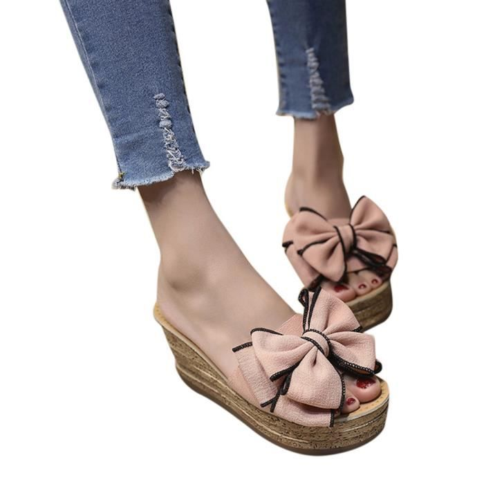 Femmes Sandales Couleur Wedges Mode Talons Chaton Chaussures rose Solide Slipper Bow rfxrF74