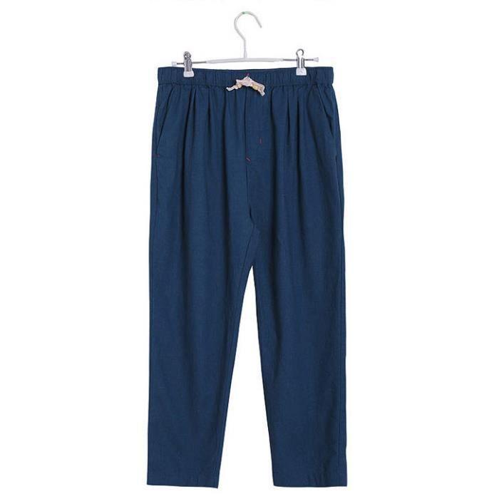 Men 's Lin Cotton Summer pantalon long Slacks cool Casual Drawstring pantalons et