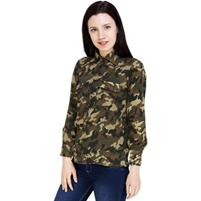 Taille Olive Femmes 34 Vert Chemise Ffly1 Casual Verte Armée Militaire Rayon De edQxWCBor