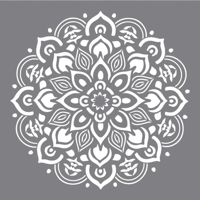 Modern White House With Integrated Angles And Corners: Pochoir Mandala 30,5 X 30,5cm