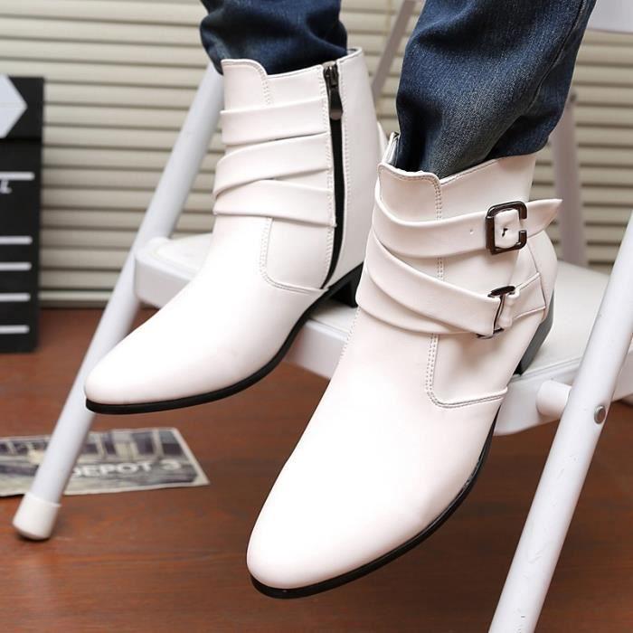 Pointu en Plus Taille noir blanc Size cuir Toe 46 Mode d'affaires 39 Boots Shoes Chaussures Casual brun Hommes wqtzCF4