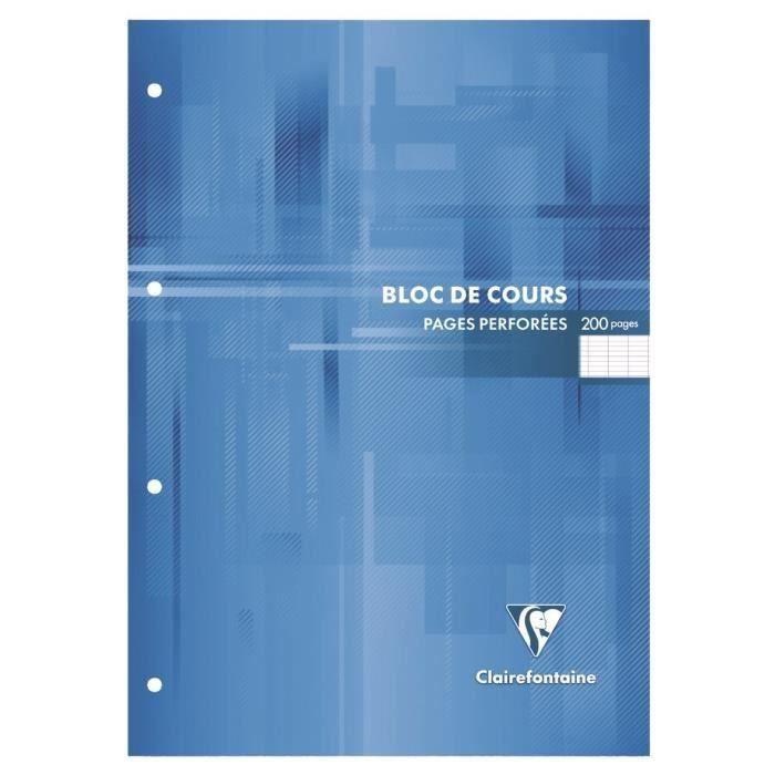 CLAIREFONTAINE Bloc de cours - 210 x 297 mm - 200 pages perforées 4 trous - Seyes papier PEFC 90 g - Couverture vernie (Lot de 3)