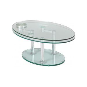 TABLE BASSE Table basse verre ovale articulée