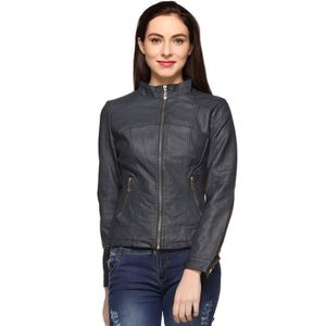 BLOUSON - VESTE Bleu Veste en cuir pour femme FC7ZB Taille-40