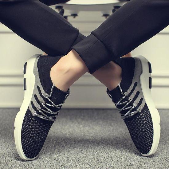 Basket hommes chaussures mode sport casual chaussures de course hommes chaussures Chaussures à bord respirant volant pour hommes Noir Noir - Achat / Vente basket
