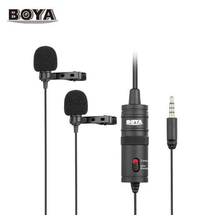 Boya By-m1dm Double Omni-directional Micro Cravate Revers Clip-on Microphone À Condensateur Pour Canon Nikon Sony Dslr Caméra