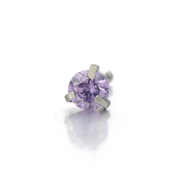Anneau Du Nez Stud Piercing Bijoux De Corps Acier Inoxydable Avec Zircone Cubique Violet