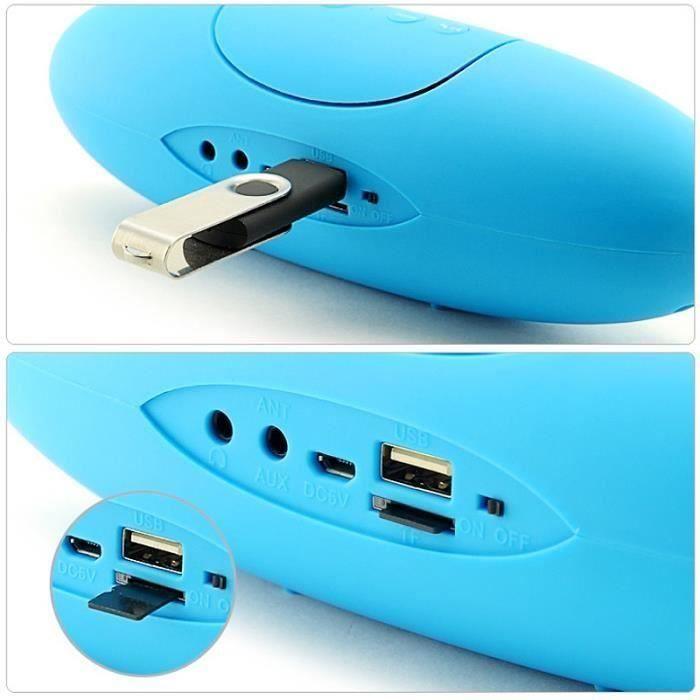 Enceinte Sans Fil Bluetooth Portable Radio Fm Usb Lecteur De Carte Led Bleu - Lrygde-a1101