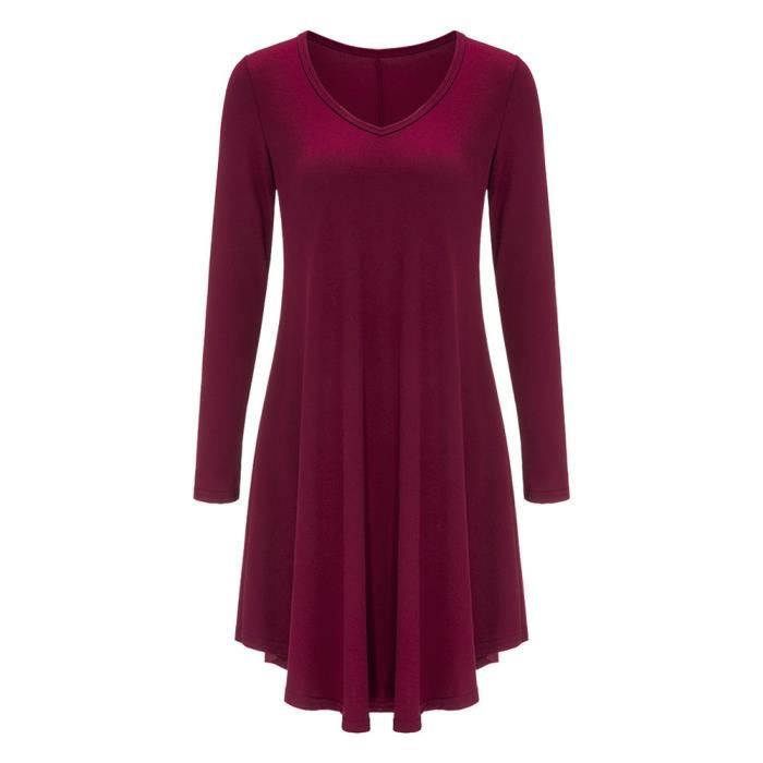 Femmes plissée à manches longues Loose décontractée Robe Mode Rouge vineux