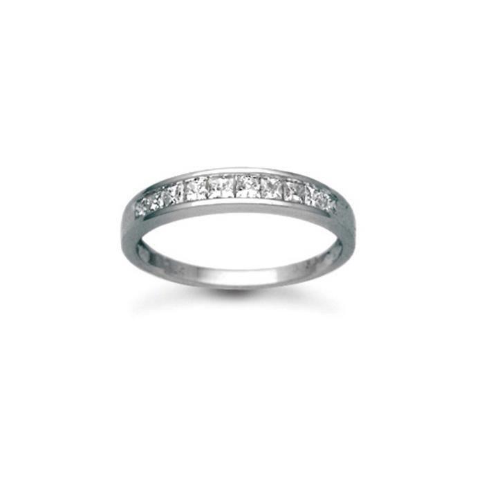 Jewelco London sans-conflit Femmes Solide Platine Réglage Canal Taille Princesse HI SI Diamant Délicat Éternité Bague