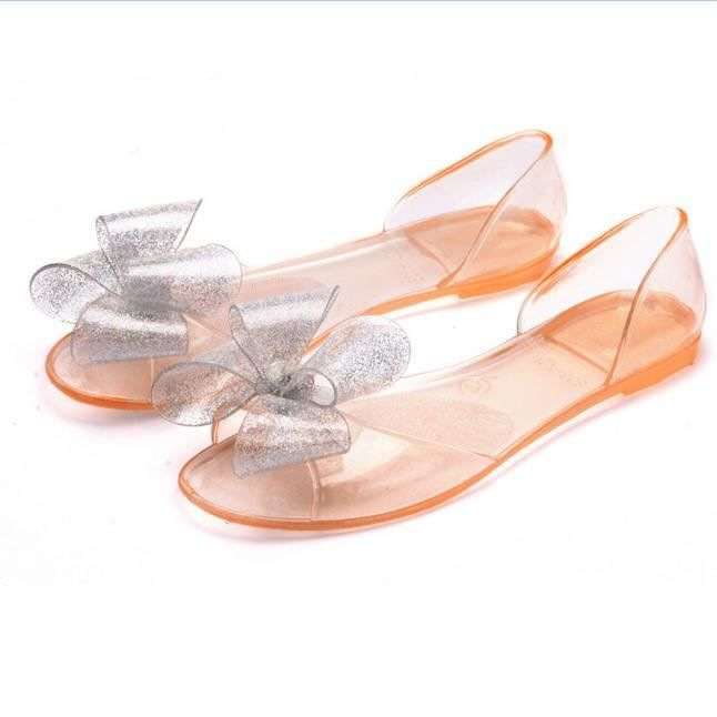 Femme Bowknot Plage Plastique Jelly Chaussures Sandales Couleur 76ymYbfIvg