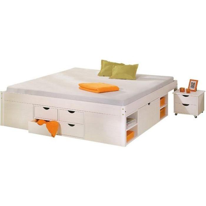 LIT COMBINE  lit multi-rangements en coloris blanc, 160 x 200 c