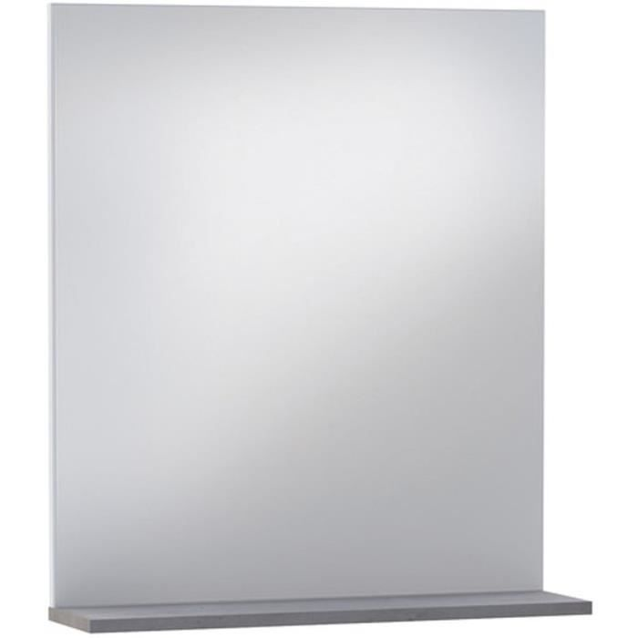 miroir avec tablette en bois ch ne champagne h69x l60 x p15 5 cm achat vente miroir salle. Black Bedroom Furniture Sets. Home Design Ideas