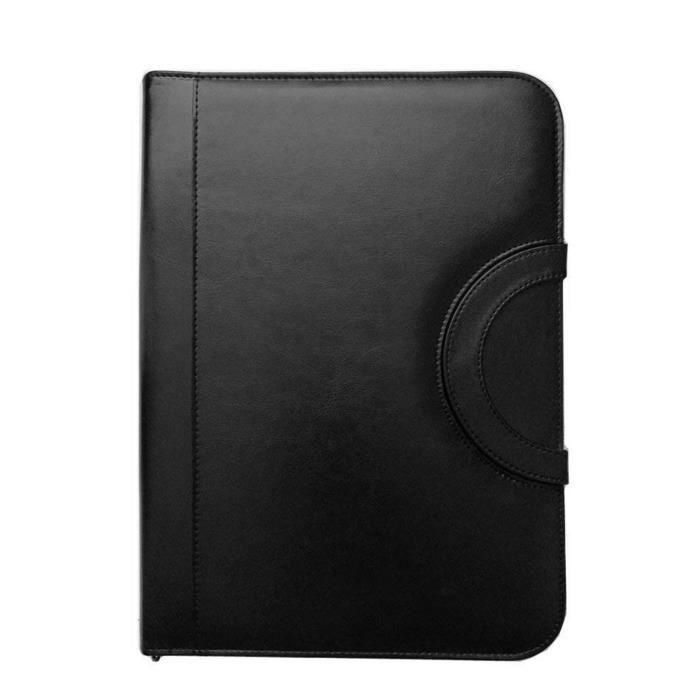 6cbe2413ff4 Porte-documents A4 Portfolio Calculatrice Zippé Organiseur Porte-bloc  Conférencier Professionnelle iPad Bloc-notes Classeur Noir