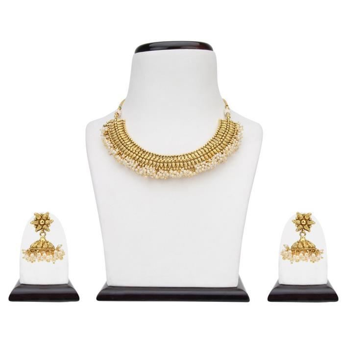 Femmes mariée Dulhan en métal blanc en alliage Ensemble de bijoux avec collier et boucles doreilles pour dames A3TIG