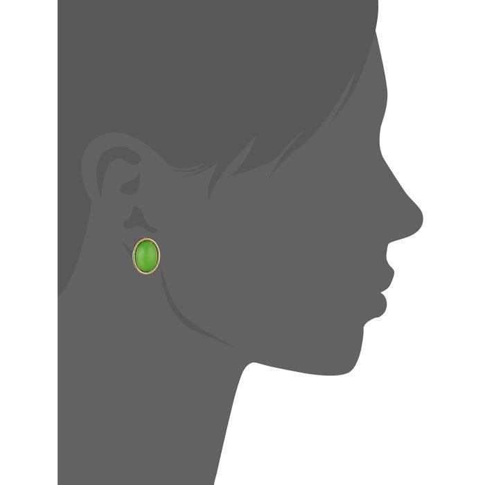 1928 Jewelry Gold-tone Green Cabochon Oval Button Stud Earrings IFHCJ
