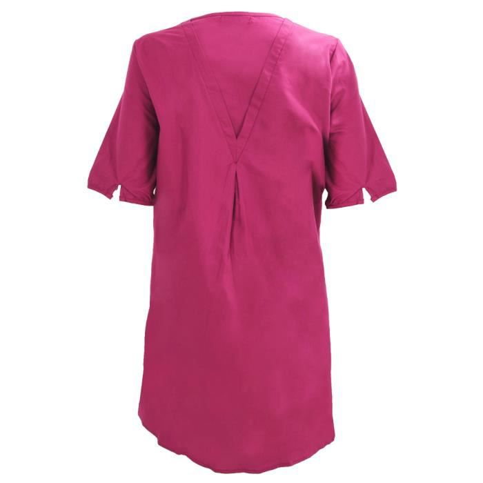 Nouveau style de Robe dete ample decontractee brodee elegante en coton lin a manches courtes de mode pour femmes vin rouge L