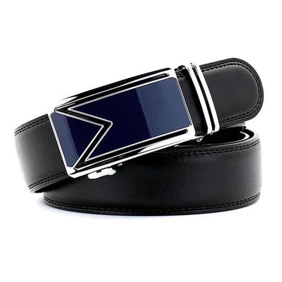 4645a4190db7 Ceinture Homme ajustable en Cuir noir et Boucle en Acier Bleu et Argent - Blue  Pearls - Achat   Vente ceinture et boucle 3700698776290 - Cdiscount