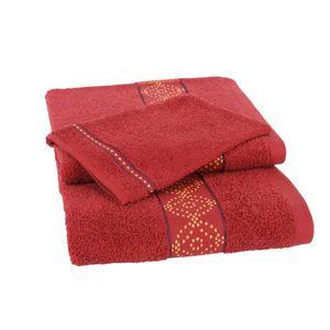 JULES CLARYSSE Lot de 1 serviette + 1 drap de bain + 1 gant de toilette ORIENTAL- Rouge