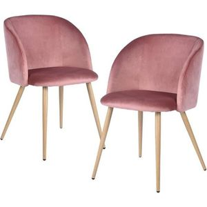 CHAISE Lot Of 2 Chaises En Tissu Velours Rtro Rose Rouge