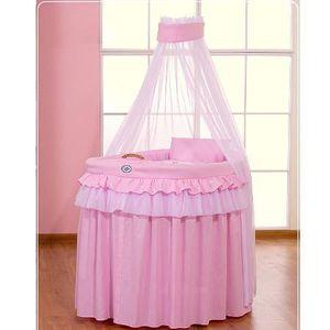 BERCEAU ET SUPPORT Berceau bébé en osier complet avec textile rose