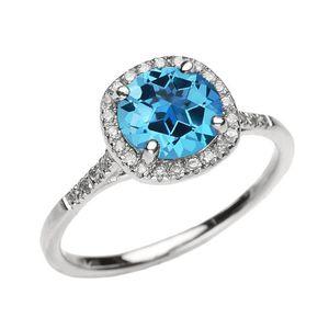 BAGUE - ANNEAU Bague Femme 10 Ct Or Blanc Diamant Et Véritable Bl