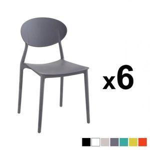 CHAISE MEGA Lot de 6 chaises empilables en PP gris